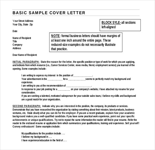 Basic Sample Cover Letter Template Example