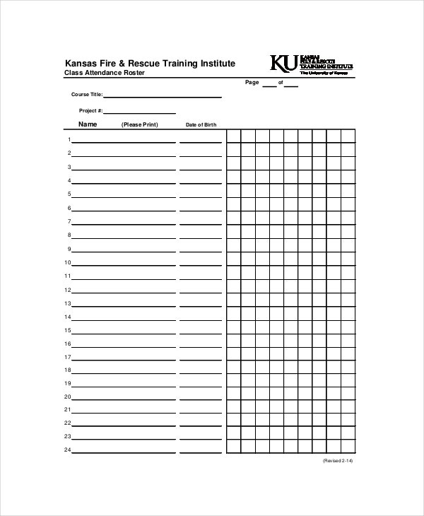 Attendance Roster Template 7 Free Word PDF Documents Download – Attendees List Template