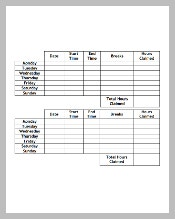 Monthly Timesheet Template with Breaks