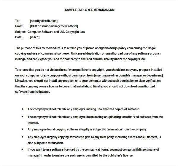 Sample Employee Cover Memo Template