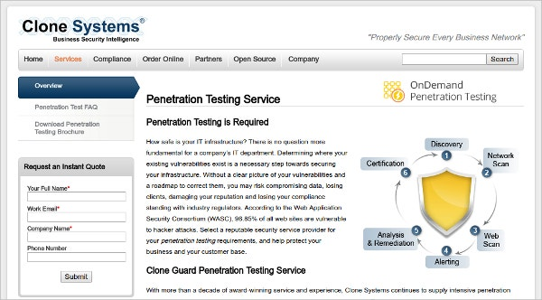 Clone-Systems Penetration Testing Service