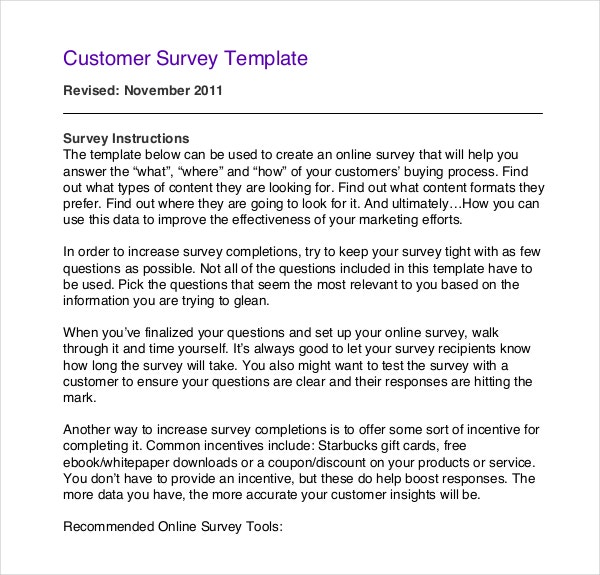Sample Customer Survey Template Download