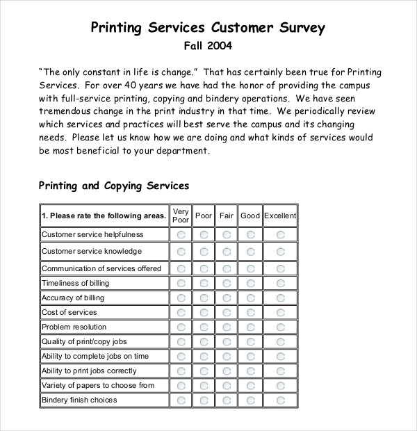 Printing Services Customer Survey Example Template