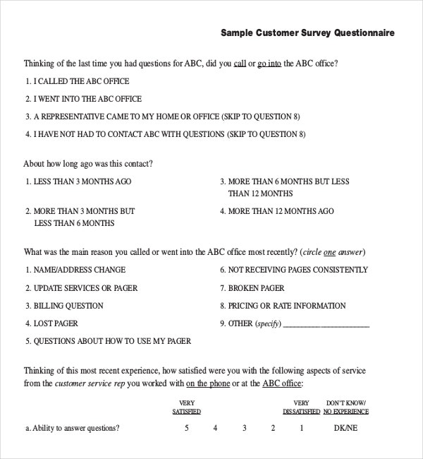 Sample Customer Survey Questionnaire Template