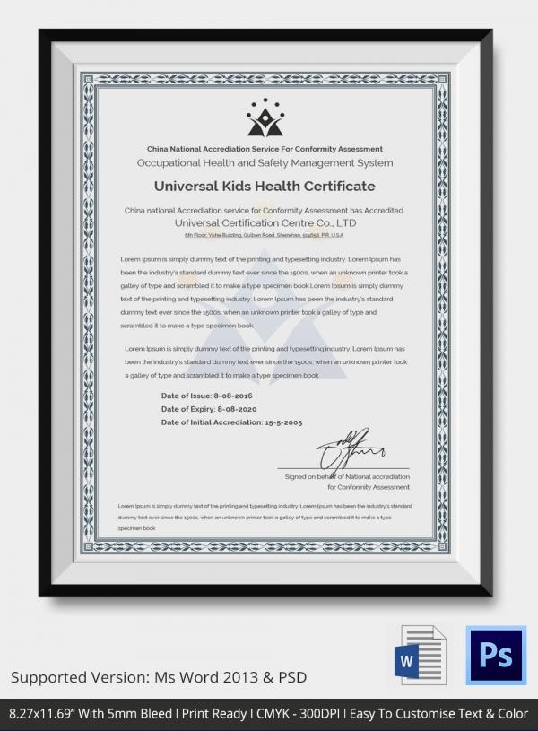 Universal Kid Health Certificate