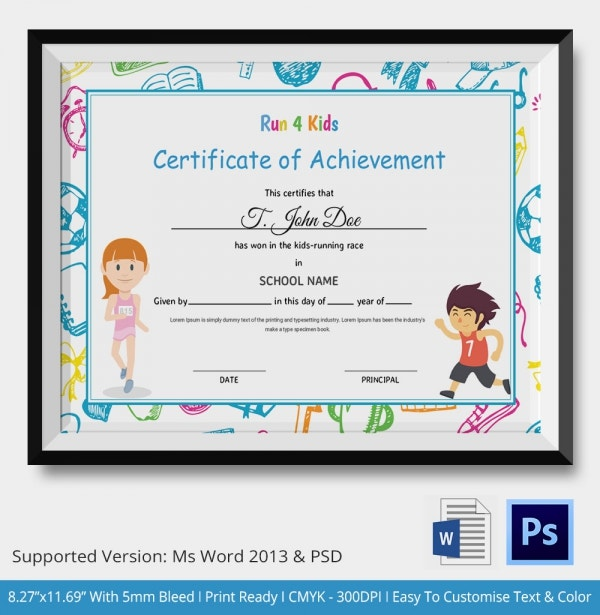 Run for Kids Certificate of Achievement
