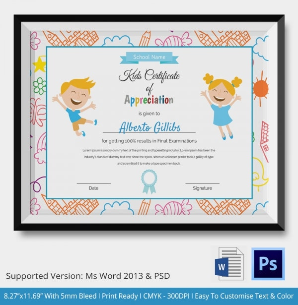 Kids certificate template 14 pdf psd vector format download kids certificate of appreciation template yadclub Gallery