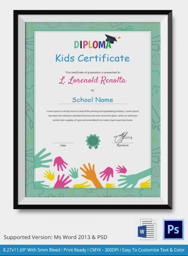 Kids certificate template 14 pdf psd vector format download school kids diploma certificate yadclub Gallery