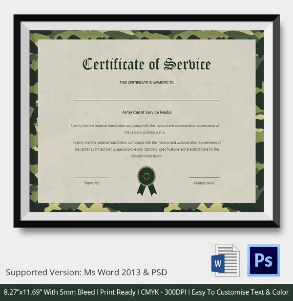 Certificate of service template 11 free word pdf documents army cadet service medal certificate yadclub Image collections