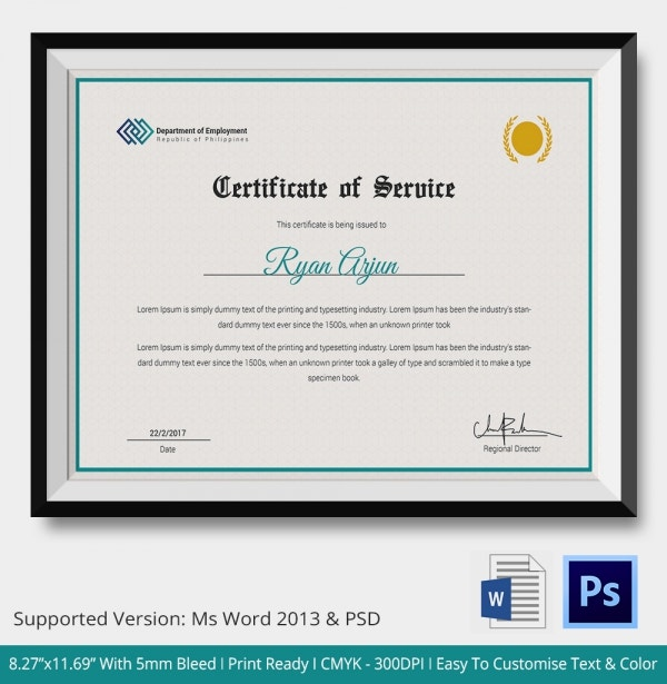 Certificate of Employee Service Template