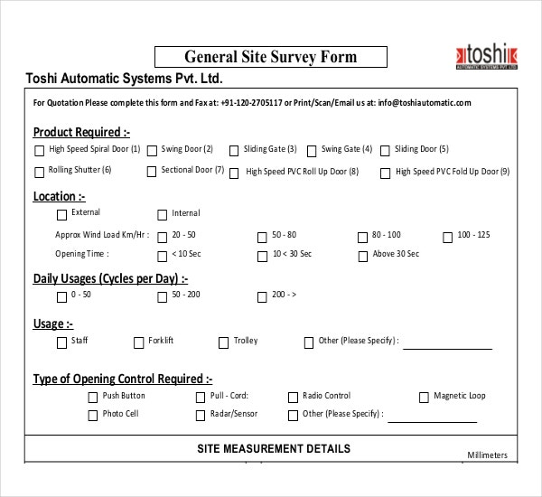 10 Site Survey Templates Free Sample Example Format Download – Survey Sample