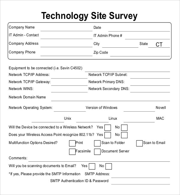 Technology Site Survey Example Template