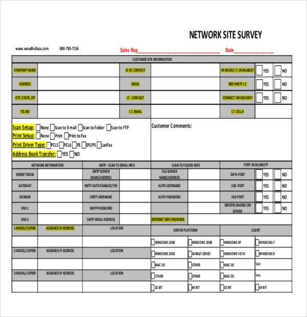 Network Site Survey Sample Template