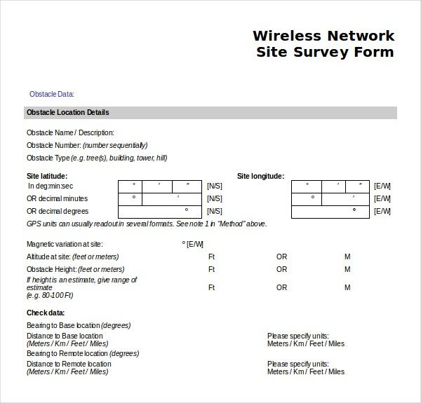Amazing Wireless Network Site Survey Form Word Document