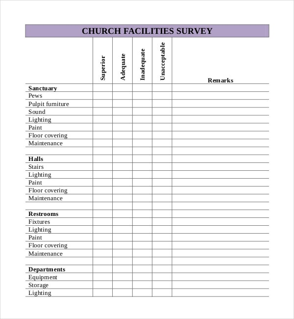 Church Facilities Survey Template Free Download