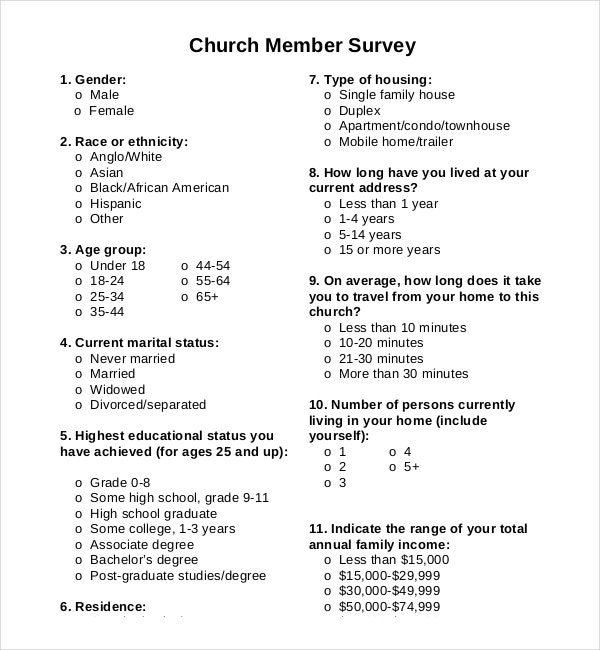 Church Survey Templates  Free Sample Example Format