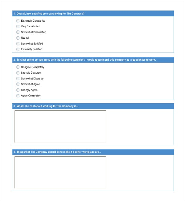 Employee Satisfaction Survey Questions Template Example Format