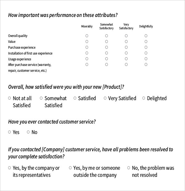 Survey Questions Templates  Free Sample Example Format