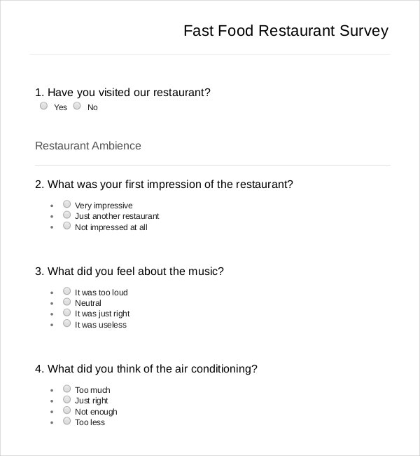 Restaurant Survey Templates  Free Sample Example Format