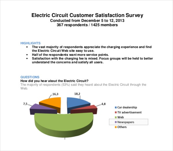 electric circuit customer satisfaction survey example template