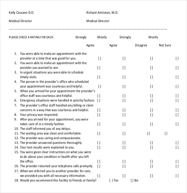 medical office patient satisfaction survey sample template