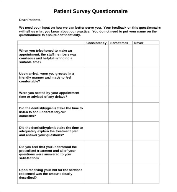 An Example Template For Patient Survey Questionnaire