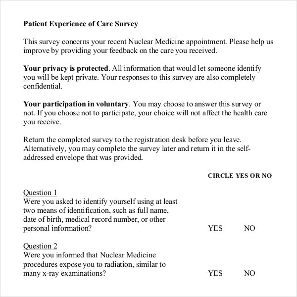 patient experience of care survey template free