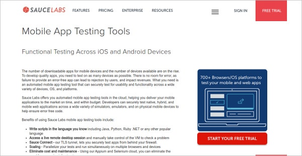 SauceLabs Mobile App Testing Tool for Android & iOS