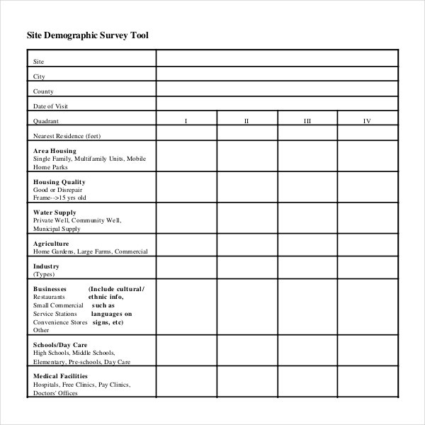 10 demographic survey templates pdf word excel free for Catering questionnaire template