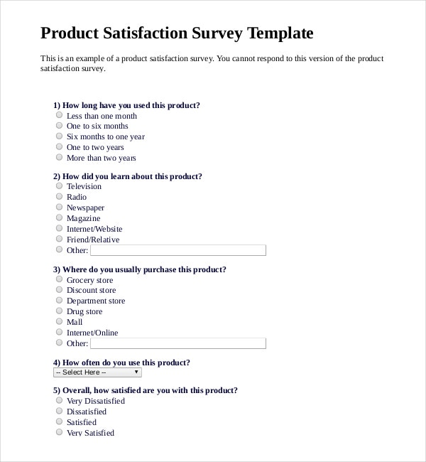 12 product survey templates free sample example for New customer questionnaire template
