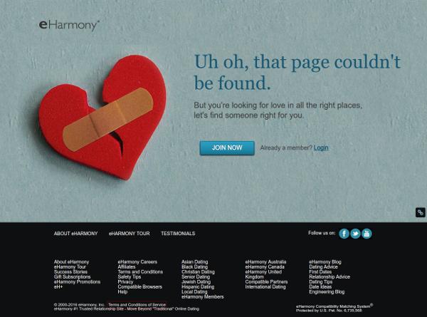 eharmony 404 broken heart page