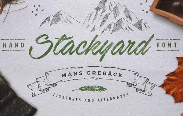 stackyard cursive font