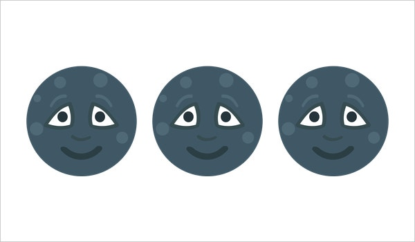 new moon with face on emoji one for free