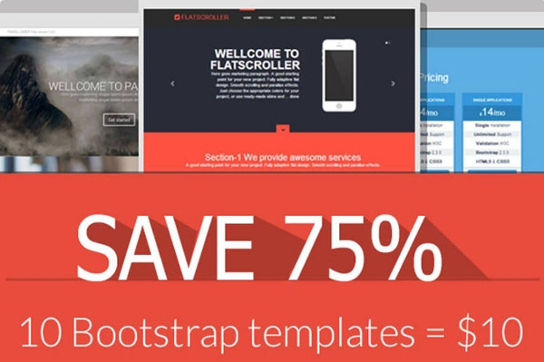 Save 75% Off - 10 Bootstrap Templates for $10