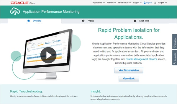 oracle cloud application performance monitoring service