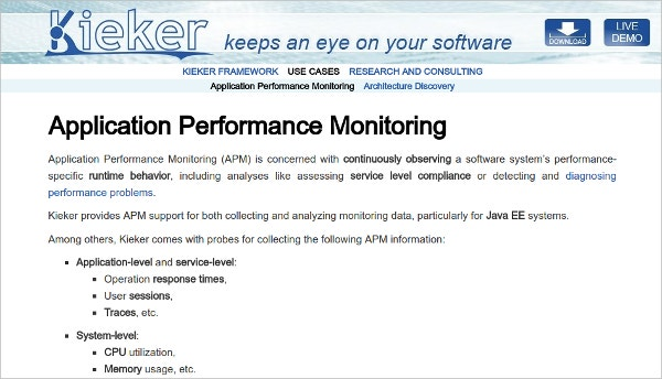 kieker monitoring application performance monitoring