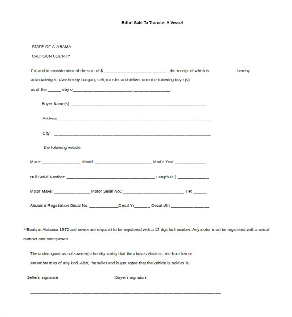 Bill Of Sale Form Ontario Boat  Mydrlynx