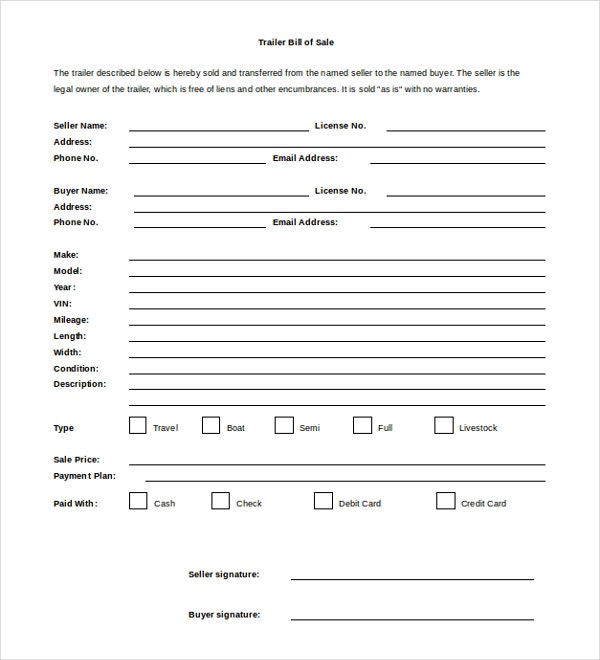 Bill Of Sale Templates  Free Sample Example Format  Free