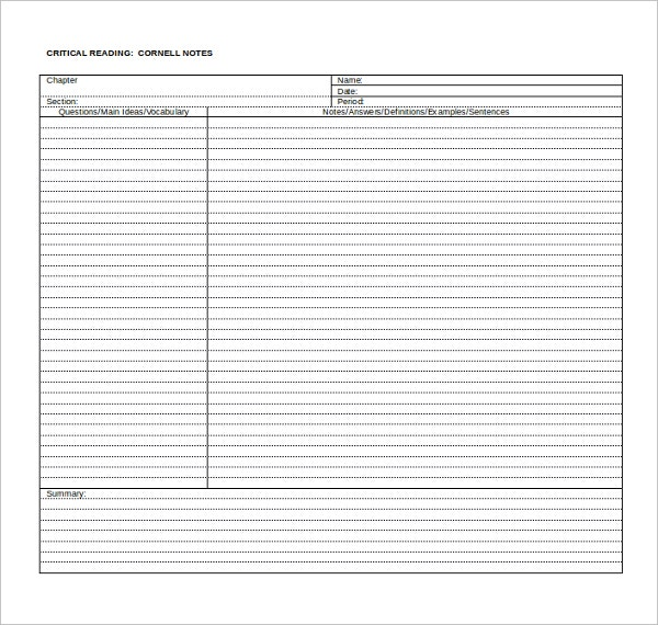 Cornell Note Templates  Free Sample Example Format  Free