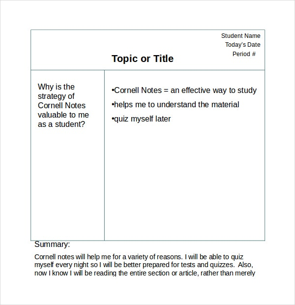 Cornell Notes Powerpoint Templates