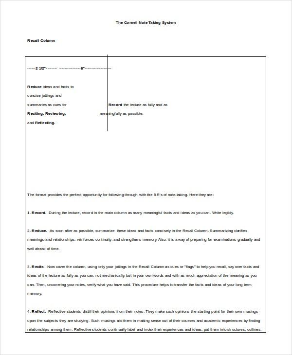 Weekly Cornell Notes Templates