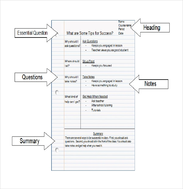 Taking Cornell Notes Template