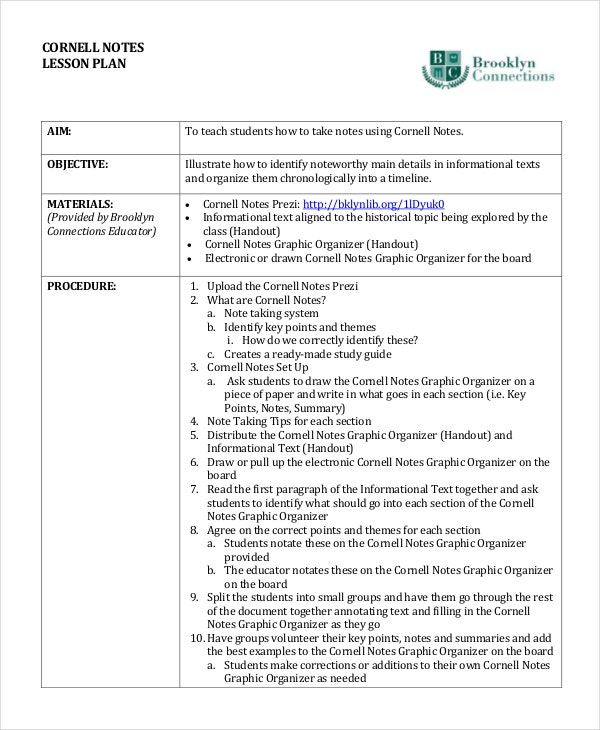 Lesson Plan Cornell Notes Template
