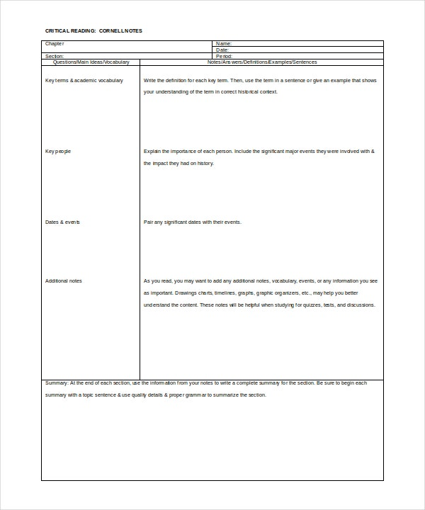 11 Cornell Note Templates Free Sample Example Format
