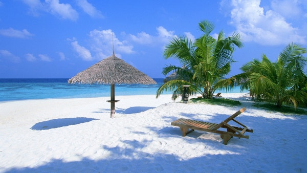 Beach Sun Lounger Sand Beautiful Background