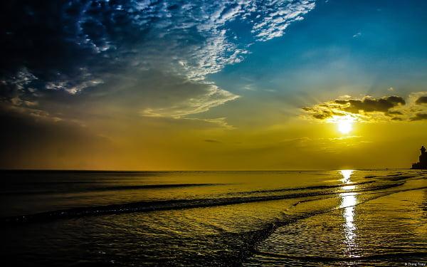 beautiful beach sunrise hd background