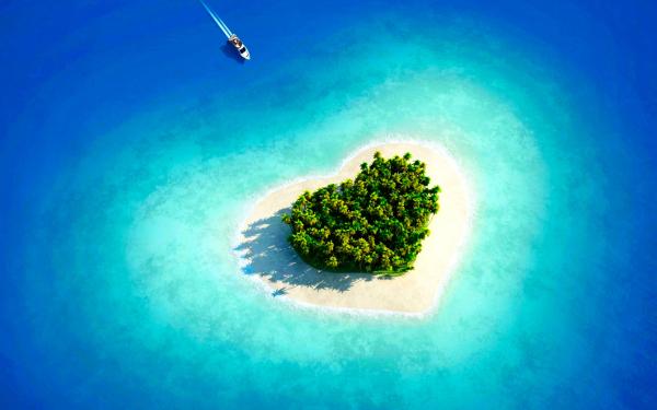 maldives heart beach cellphone background