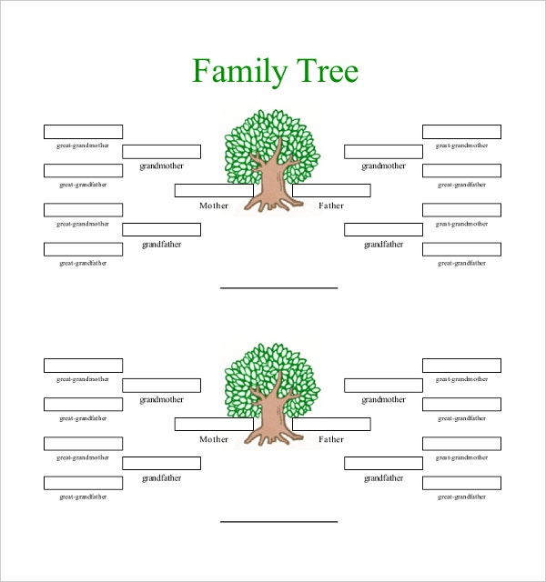 4 generation Family Tree Template