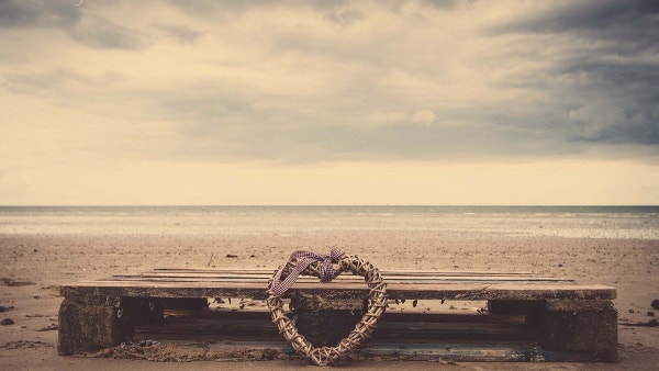 Beach Heart Sand Bench Wicker Desktop Background