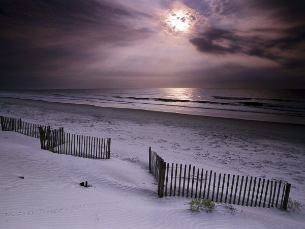 White Sand Sun Set Beach Desktop Wallpaper